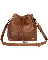 MAHI Classic Bucket Drawstring Bag In Vintage Brown Leather