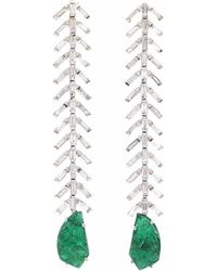 Ri Noor - Baguette Diamond & Carved Emerald Earrings - Lyst