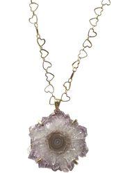 Tiana Jewel Amethyst Stalactite Gemstone Heart Necklace - Metallic