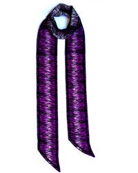 INGMARSON Tiger Silk Neck Scarf Long Magenta - Purple
