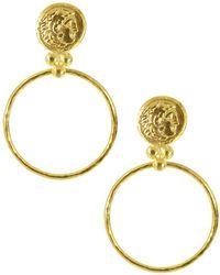 Ottoman Hands Gold Coin Front Hoop Earrings - Metallic