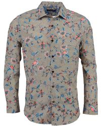 lords of harlech Nigel In Bird Floral Canvas Tan - Blue