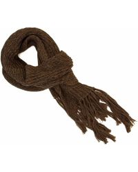 40 Colori - Brown Double-threaded Hand Fringed Wool Scarf - Lyst