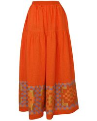 Haris Cotton Maxi Linen Ruffled Skirt With Embroidered Panels - Orange