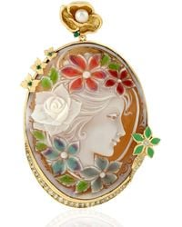 Artisan 18kt Yellow Gold Sheel Cameo Enamel Pendant With Diamond & Emerald Gemstone - Metallic