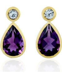 Artisan 18kt Yellow Gold Pear Shape Dangle Earring Amethyst White Sapphire Jewellery - Multicolour