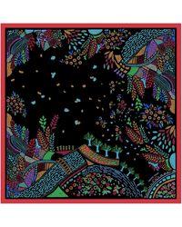 Jessie Zhao New York Silk Scarf With Night Sky Landscape - Black