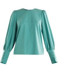 Paisie Gathered Sleeve Blouse In Teal - Green
