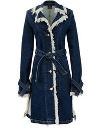 Thale Blanc Chicago Denim Coat Knee Length - Blue