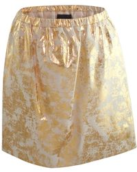 Claire Andrew - Gold Distressed Leather Skirt - Lyst