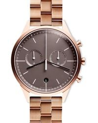 Uniform Wares Women's C39 Chronograph Watch In Pvd Rose Gold With Linked Rose Gold Bracelet With Butterfly Clasp - Metallic