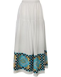 Haris Cotton Maxi Linen Ruffled Skirt With Embroidered Panels - White