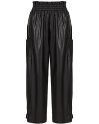 Nocturne Pleather Pants With Snap Button Cuffs-black