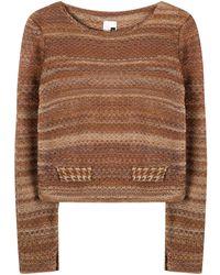STUDIO MYR Boatneck Wool Sweater In Audrey Hepburn Style Tweed-ginger - Brown