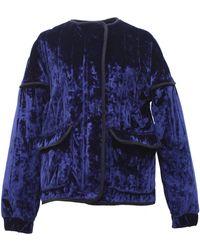 TOMCSANYI Rozsi Quilted Velvet Zip-up Jacket - Blue