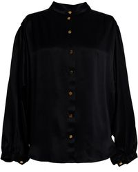 TOMCSANYI Koki Black Gathered Shirt