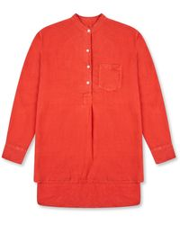 Burrows and Hare Women's Linen Tunic Shirt - Red