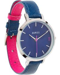 Auree Montmartre Silver Watch With Royal Blue & Hot Pink Leather Strap - Metallic