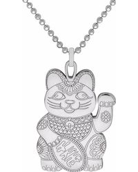 CarterGore Silver Lucky Cat Pendant Necklace Large - Metallic
