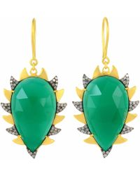Meghna Jewels - Claw Green Onyx Drop Earrings - Lyst