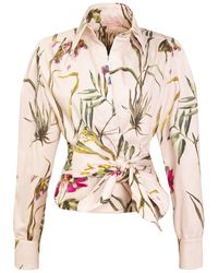 TOMCSANYI Gellert Poplin Wrap Shirt 'light Botanical' - Multicolor