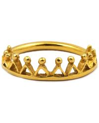 Annabelle Lucilla Jewellery Dainty Stella Crown Ring Gold - Metallic