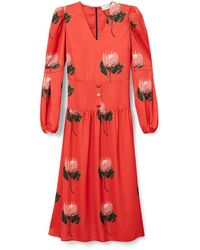 PHOEBE GRACE - Daisy Midaxi Dress With Puff Sleeve In Red Protea - Lyst