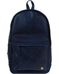 MAHI Leather Classic Backpack Rucksack In Navy - Blue