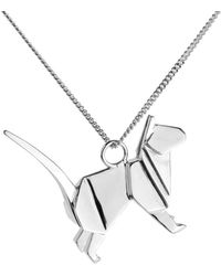 Origami Jewellery Cat Necklace Silver - Metallic