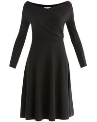 Paisie Knitted Wrap Dress In Black