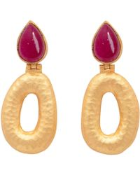 Carousel Jewels - Matte Gold Finish Red Quartz Earrings - Lyst
