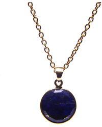 Puck Wanderlust Lapis Lazuli Gold September Birthday Charm Necklace - Metallic