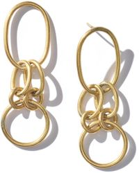 Raven + Lily Kia Small Oval Drop Earrings - Metallic