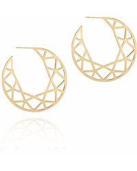 Myia Bonner - Gold Brilliant Diamond Hoop Earrings - Lyst