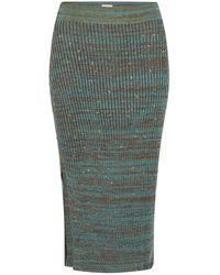 STUDIO MYR Autumn Dew Calf Length Knitted Pencil Skirt With Sparkles - Blue