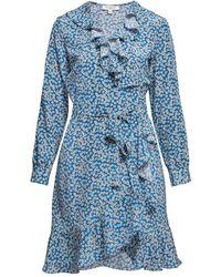 Rumour London Abby Ruffled Silk Wrap Dress With Cherry Blossom Print - Blue