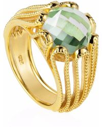 Neola   Alessia Gold Cocktail Ring With Green Amethyst   Lyst
