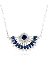Artisan 18k White Gold Designer Half Circle Necklace - Multicolor