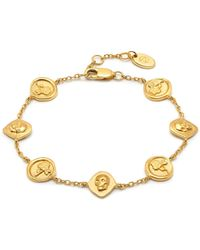 Northskull Rose Seal & Skull Charm Bracelet In Gold - Metallic