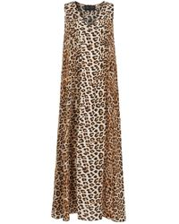 Lindsay Nicholas New York Maxi Dress In Leopard Silk - Multicolour