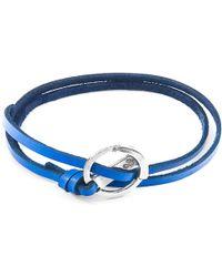 Anchor & Crew Royal Blue Ketch Anchor Silver & Flat Leather Bracelet