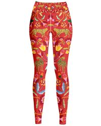 Jessie Zhao New York High Waist Yoga Leggings In Holiday - Red