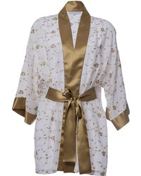 Roses Are Red Sonata For The Dawn Silk Kimono Ivory - Brown