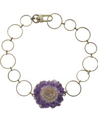Tiana Jewel Celestial Amethyst Stalactite Gemstone Necklace - Metallic