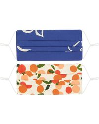 Emily and Fin Set Of Two Pleated Masks Brushstroke Dove & Mini Summer Oranges - Blue