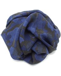 Doria & Dojola Camo Cotton Blend Foulard - Blue