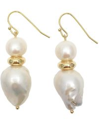 Farra Natural Baroque & Round Freshwater Pearls Drop Earrings - Multicolor