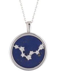 LÁTELITA London Zodiac Lapis Lazuli Gemstone Star Constellation Pendant Necklace Silver Pisces - Metallic