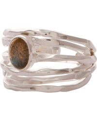 Carousel Jewels Silver Nest Ring With Labradorite - Gray