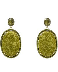 LÁTELITA London - Stingray Pave Oval Earring Kiwi - Lyst